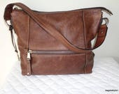sale Fossil large bag, tote,  genuine  brown thick sunwashed  leather , bucket bag ,satchel , work bag , vintage w lots of character