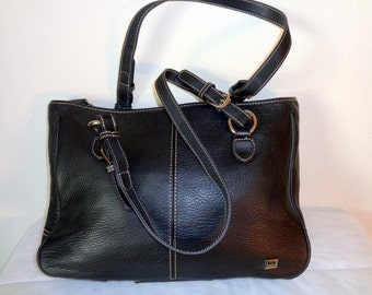 The Sak multi compartment tote satchel top  zip bag, dual handle purse buttery soft  black leather vintage awesome  pristine condition
