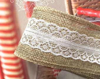 2 Yards Large Wide White Floral Flower Lace Rustic Country Wedding Party Decoration Burlap Linen Hemp Jute Ribbon Trim 2 Inches / 5 cm