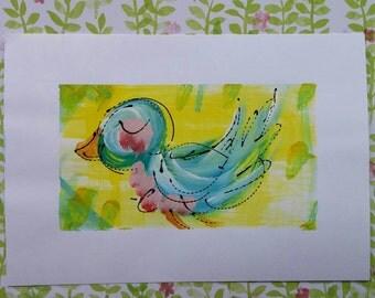 "Original Bluebird Painting on Cardstock 4.5"" x 6.5"" Ready to Ship YelliKelli"