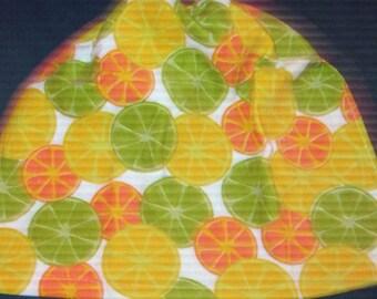 Crochet hanging towel, Lemons and limes, yellow top, imusa brand