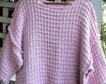 Pink Plus Size Fringy Tunic/ Loose Weave Cotton Top/ 2X Faux Crochet Tunic/ Sheerfab Funwear
