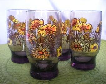 Retro Glassware, Small Retro Glasses, Juice Glasses, Funky Drinking Glasses