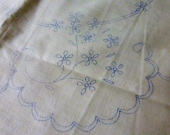 Antique Embroidered Scalloped 18 Inch Round Pillow Blank NOS