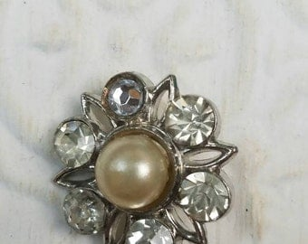 Vintage Button - 1  unique flower design rhinestone embellished, with center pearl  antique silver finish metal (feb60 17)