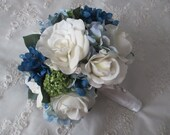 Reserved listing for.....Ferris Beashau......Real Touch Gardenias Roses Silk Blue Hydrange Bridal Bouquet