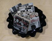 Rolling Stones handmade wood coasters and vinyl bowl created from recycled Exile on Main St record album