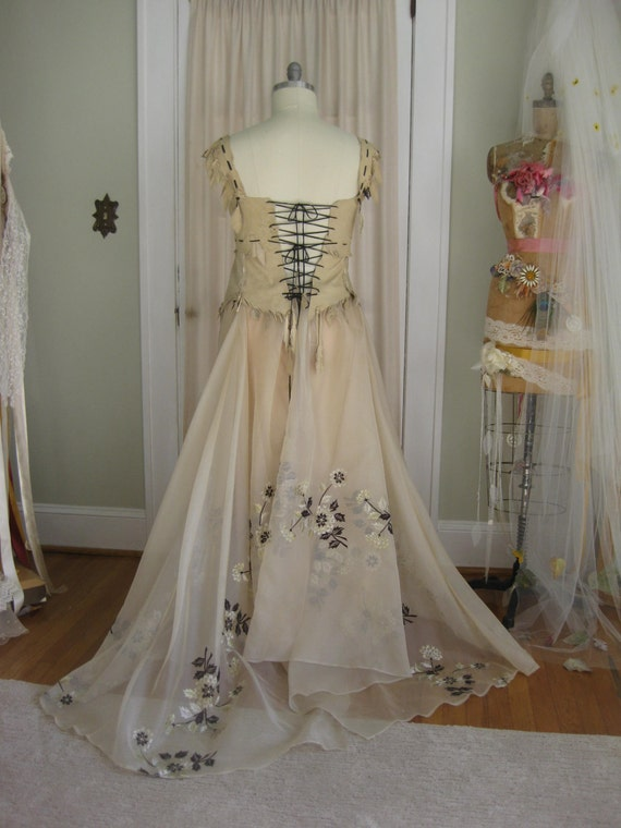 Leather Corset Wedding Dress 2 Piece Skirt Unique DressBoho DressHippie Alternative