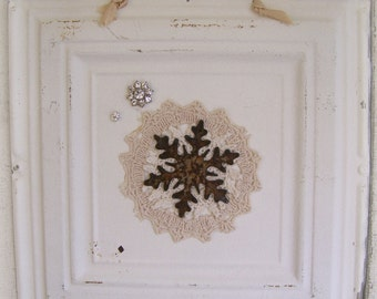 Victorian Christmas Ceiling Tin Art Hanging Repurposed Ceiling Tin Magnet Board Vintage Christmas Decor Christmas Vintage Snowflake Art