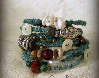 Turquoise  Bangle Bracelet Stack Vintage Gypsy  Boho Bracelet  Wire Wrapped Tribal Stack Tribal Bracelets Turquoise Bracelet Stack Southwest