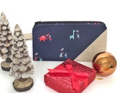 Cute Pencil Case, Back to School Supplies, Cute Pencil Bag, Accessories Bag - navy with elephants