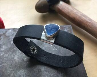 Beautiful blue seaglass leather bracelet