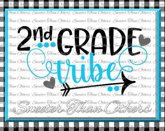 2nd Grade Tribe svg, Second Grade svg, Teacher Svg, Dxf Silhouette Studios Cameo Cricut cut file INSTANT DOWNLOAD Vinyl Design, Htv Scal Mtc