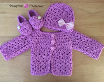 Newborn sweater set... sweater coat with matching beanie and booties... ready to ship.... newborn girl sweater