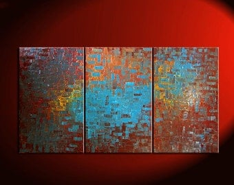 Huge Textured Painting Brown Turquoise Modern Abstract Art Orange Chocolate Original Big Palette Knife Art 72x36 Custom