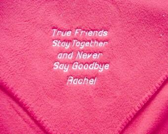 Personalized Friendship Monogrammed Blanket Fleece Gift Birthday Gift  Girl Friend Bridesmaids Shower Gift