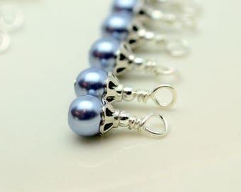 Vintage Style Lavender Pearl Bead Dangle Charm Drop Set, Earrings