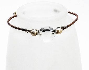 Hammered Copper Bracelet - Vintage Crystal Glass Pearls and Clear Asian Crystals