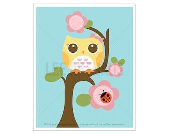 105A Owl Nursery Print - Yellow Owl on Flower Tree Wall Art - Girl Nursery Decor - Girl Bedroom Wall Art - Owl Print - Woodland Nursery Art