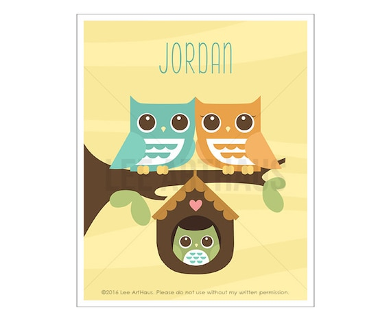 108P Owl Nursery Print - Personalized Owl Family with Baby Boy Owl Wall Art - Custom Name Wall Art for Boys - Personalized Baby Boy Gift