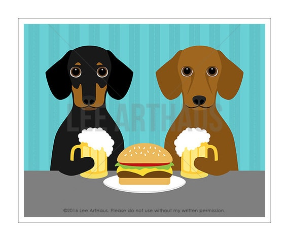298D Food Print - Two Dachshund Dogs Drinking Beer Wall Art - Beer and Burger Print - Beer Decor - Hamburger Print - Foodie Gift - Dog Art