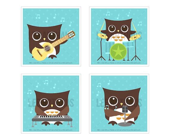 17S Owl Print - Aqua Rock Band Owl Wall Art Set - Set of 4 Prints - Music Print - Woodland Owl Nursery Art - Guitar Art - Owl Art - Boy Art