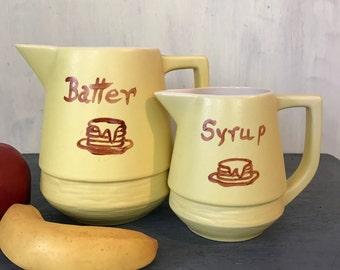 vintage McCoy Citro Ramics USA pitchers - yellow ceramic batter and syrup serving set