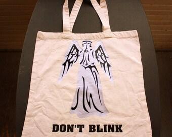 Don't Blink Tote Bag - Small Bag - Vinyl Letters - Natural