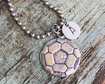 Sterling Silver Soccer Necklace with Hand Stamped Number or Initial