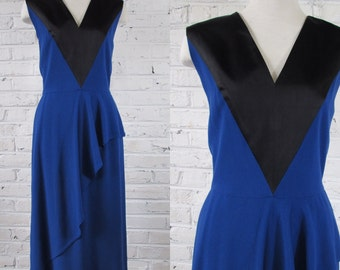 1980s GUY LAROCHE Royal Blue and Black Dress with Asymmetric Drape, size S-M