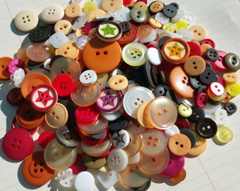 Buttons Orange Yellow White Green - Assorted Round Sewing Button - 100 Buttons - Star Garden - LAST PACK