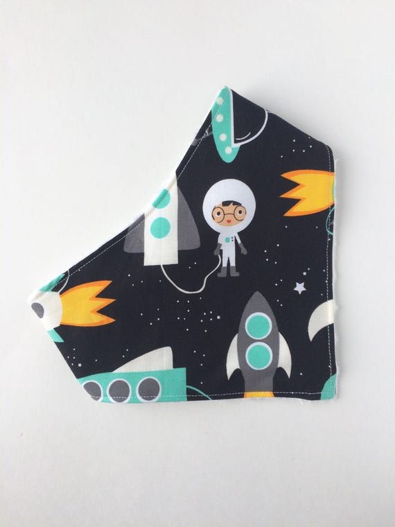 Outer Space Bandana Bib - Baby - Space Bib- Baby Bandana Bib- Drooling - Bibdana - Drool Bib - Bibs  & Burping