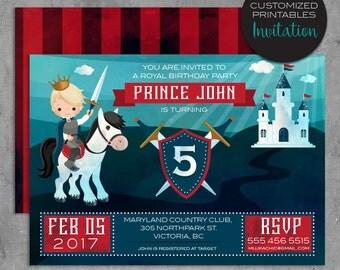 Custom Printable prince Invitations, Custom Red & Blue Prince Birthday Party Invitation, red stripe back design, castle, shield, king, card