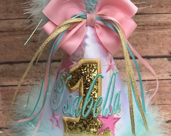 Twinkle Twinkle Little Star Birthday Hat, Shiny Glitter, First Birthday Hat,  Pink and Gold Birthday Hat,  by GINGHAM BUNNY