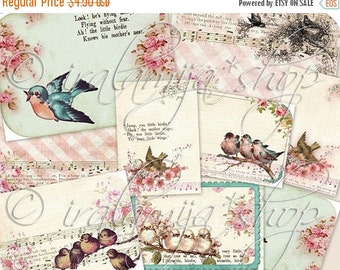 SALE SONGBIRD CARDS Collage Digital Images -printable download  file-