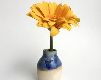 Mini pottery vase - white stoneware clay with blue glaze
