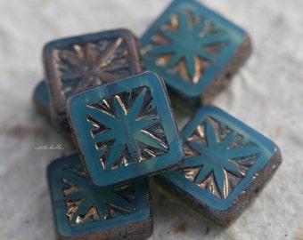COASTAL SQUARES .. 6 Picasso Czech Square Glass Beads 10mm (5516-6)