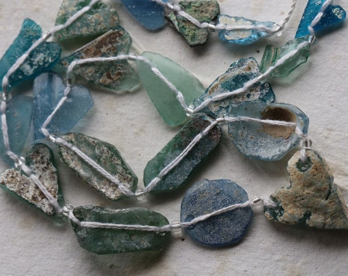 ANCIENT ROMAN GLASS No. 240 .. Genuine Antique Roman Glass Fragment Beads (rg-240)