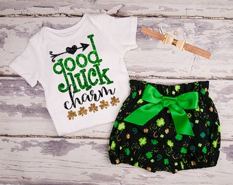 St Patricks Day Baby Outift, Baby Girl Clothes, Toddler Girl Clothes, Good Luck Charm Glitter Shirt and High Waist Bloomers