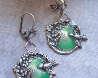 Bird Earrings, Art Nouveau Earrings, Green Earrings, Flower Earrings, Enamel Earrings, Fine Silver Plated Jewelry