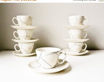 Sale Mid Century Cups and Saucers Set of 7 White with Black Dribbles Carrara Modern China by Iroquois