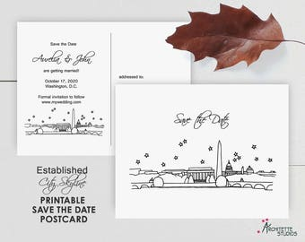 Established City Skyline - Printable Digital Download Wedding Save the Date - Postcard
