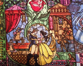 One fat quarter beauty and the beast fabric stained glass woven cotton