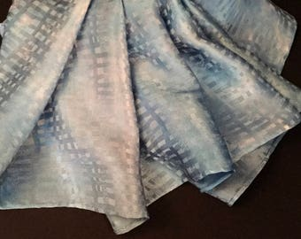 French Blue Hand Painted Silk Scarf