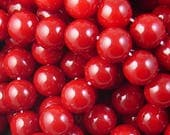 Glass Bead 41 Round 10mm Glossy Environmental Red Dyed Baked Opaque Paint Strand (1038gla10m1-27)