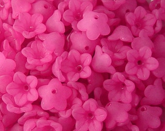 Acrylic Bead 60 Bell Daisy Flower 5-Petal Fuchsia Pink Frosted 13mm x 7mm (1015luc13-01)