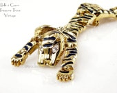 Tiger Shoulder Climber Brooch Enormous Articulated Gold Black with Rhinestone Eyes