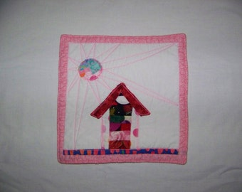 Mini Quilt Mug Rug or Coaster Crazy Town Rustic Pink Cottage