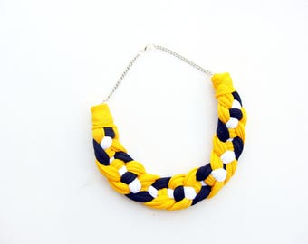 Yellow braided necklace, braided necklace, navy necklace, white necklace, tshirt yarn necklace, fabric necklace, yellow jewerly.