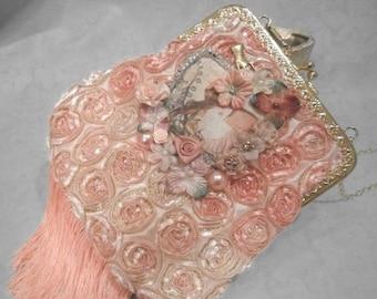 25% OFF Love my customers PURSE Handbag Handmade Romantic Flapper Girl Fringe - Handmade Purse - Pinks